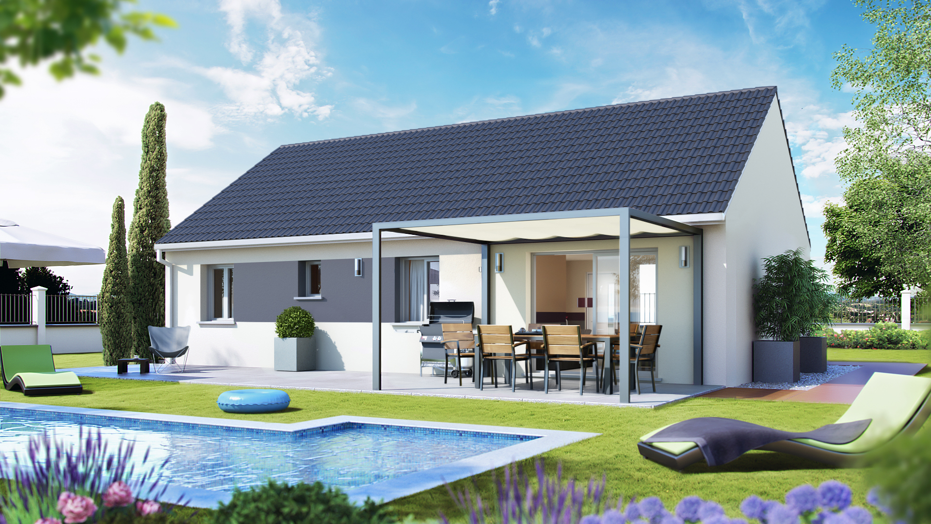Plan maison villa basse simple for Maison moderne simple