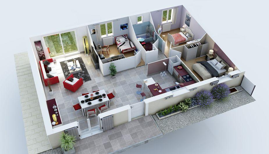 Plan De Maison Simple 3 Chambres En 3d : Maison individuelle auxonne top duo dijon