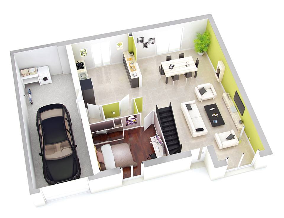 Plan de maison interieur 130 m plan architecte plan for Maison petit budget