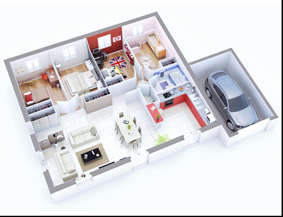 Plan maison individuelle mod le prima ardoise top duo for Modele amenagement interieur maison