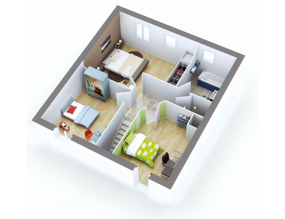 plan maison individuelle mod le quartz contemporain top duo. Black Bedroom Furniture Sets. Home Design Ideas