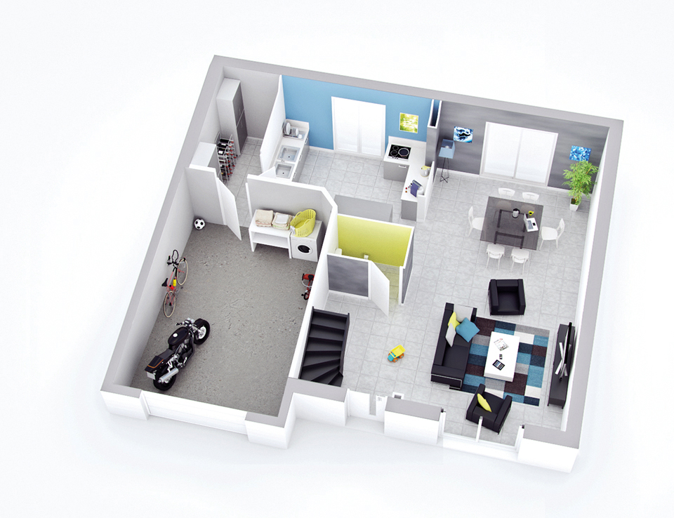 plan maison individuelle mod le sierra ardoise top duo. Black Bedroom Furniture Sets. Home Design Ideas