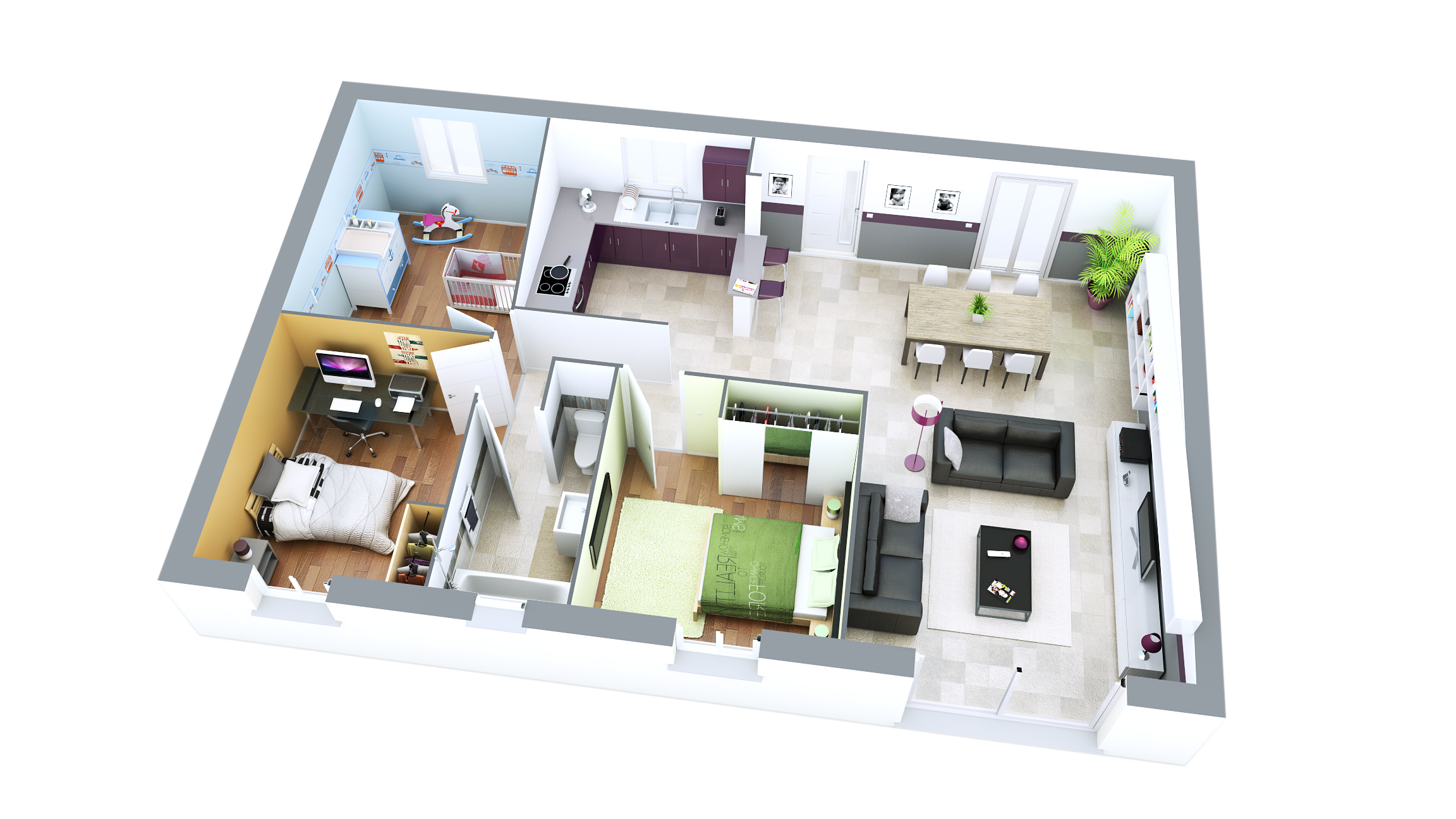 Mod le construction maison sun ardoise top duo plan et for Plan 3d amenagement interieur