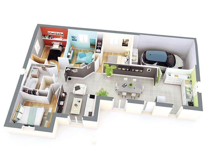 Plan maison individuelle mod le balancelle g noise top duo for Garage petit noisy