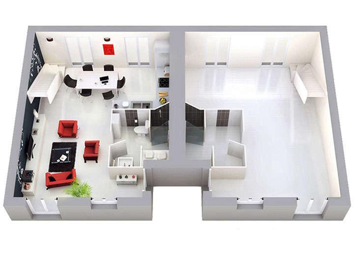 plan maison individuelle mod le bi loggia g noise top duo. Black Bedroom Furniture Sets. Home Design Ideas