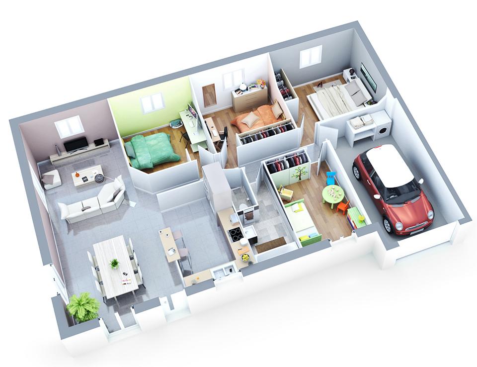 Maisons En Maquette Belle En Etage : Plan maison individuelle modèle luna cuivre top duo
