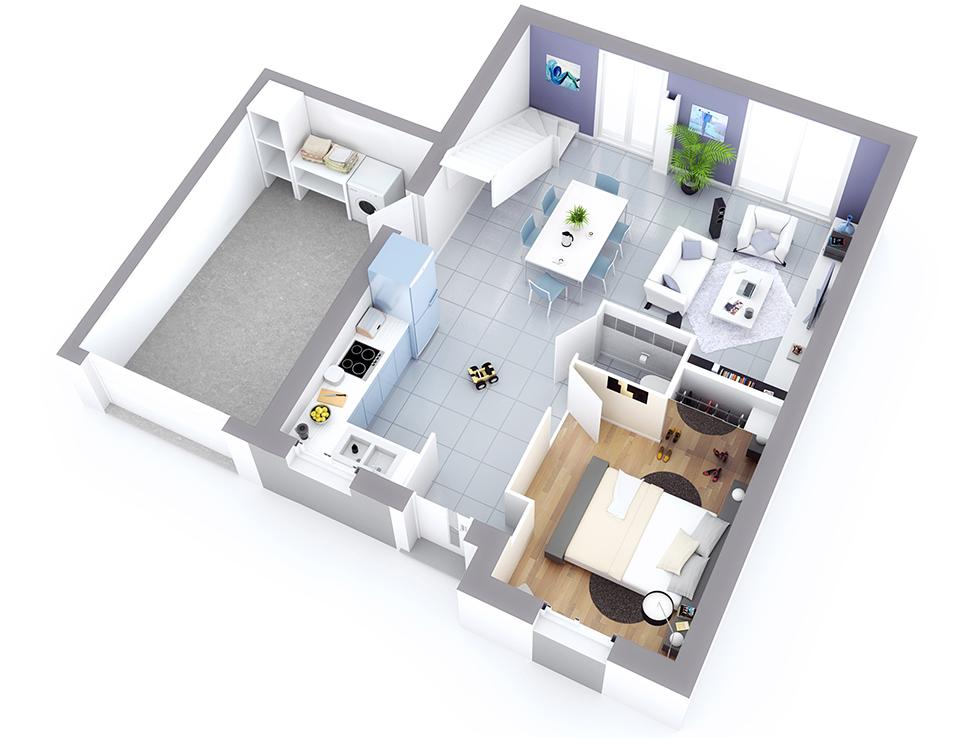 plan maison individuelle mod le opale ardoise top duo. Black Bedroom Furniture Sets. Home Design Ideas