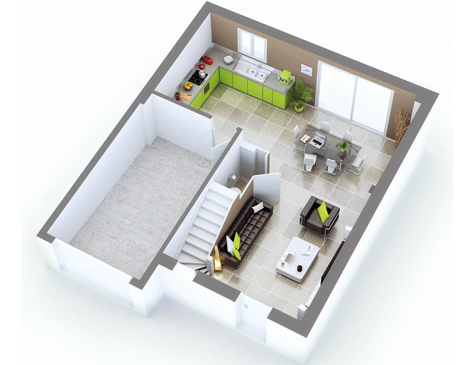 plan maison moderne quartz tuiles rouges top duo. Black Bedroom Furniture Sets. Home Design Ideas