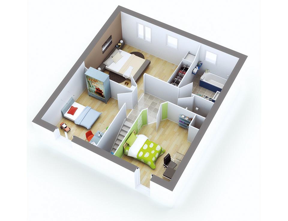 Plan maison individuelle mod le quartz g noise top duo for Garage petit noisy