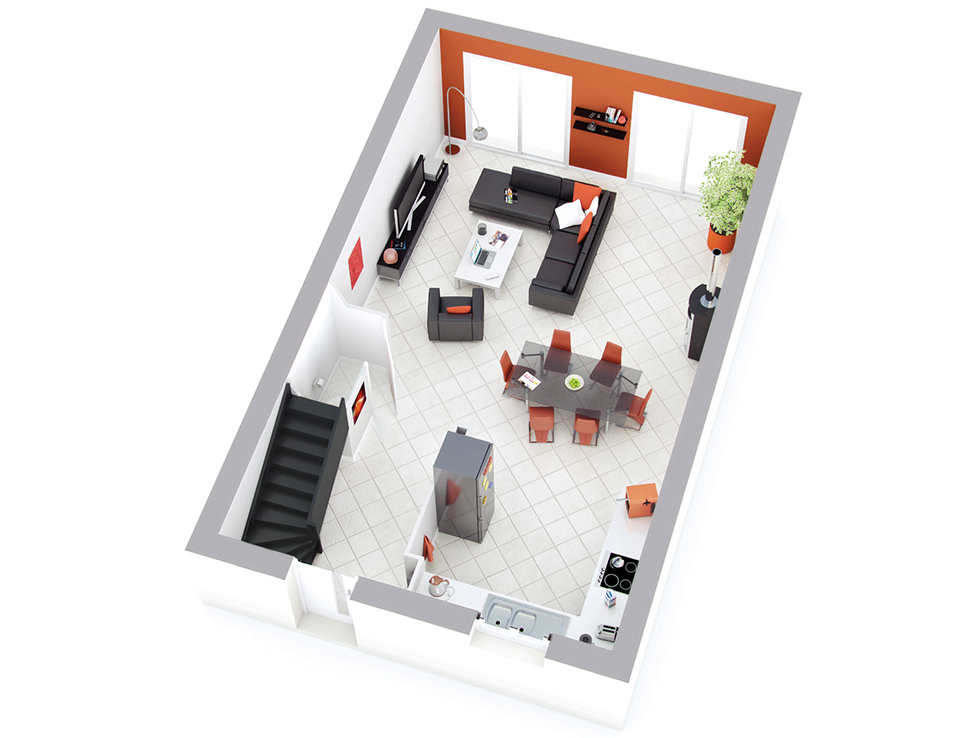 Plan maison individuelle mod le space ardoise top duo for Maison petit budget