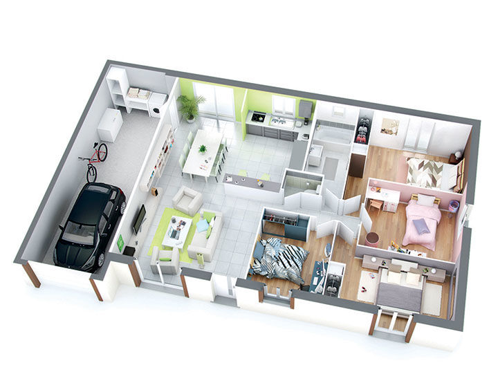 Plan maison individuelle mod le isa cuivre top duo for Plan de maison de 90m2